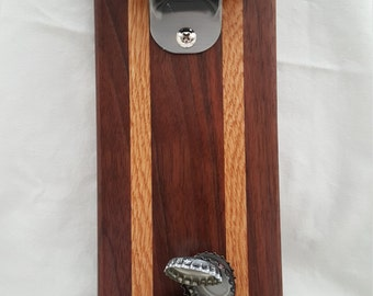 Walnut and oak bottle opener