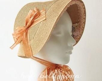 Khaki  Women's straw bonnet  hatbellissima