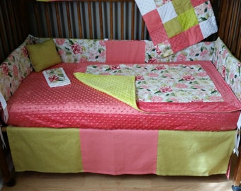 Natural State Creation Coral and Lime Green Floral 9 piece Crib Bedding Set