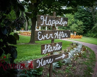 Ceremony Sign Happily Ever After Starts Here/ Rustic Wedding Decor/ Custom Signs/ Handpainted