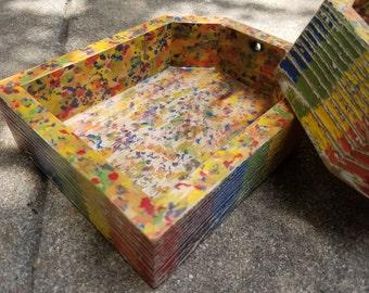 Reclaimed Wood Valet Tray, Static Rainbow
