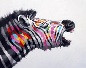 Zebra Roar — PALETTE KNIFE Oil Painting On Canvas