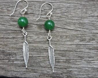 Jade Feather ball Drop Earrings