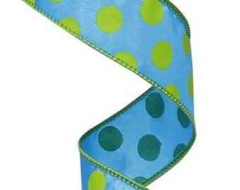 "1.5""X10yd Large Polka Dot  Blue/Lime"