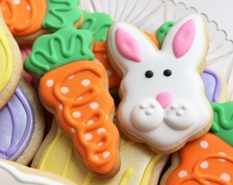 Spring/Easter Decorated Bunny, Carrot & Tulip Cookies