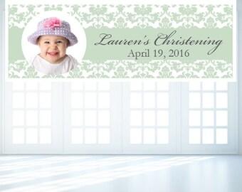 Personalized Damask Christening Banner (FJM628494-DM)