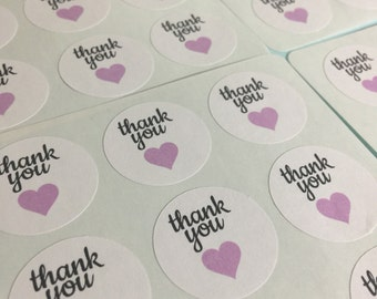 Lavendar Purple Hearts Thank You Stickers (120 Pcs)