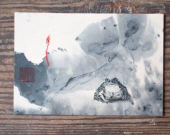 original watercolor painting_5 inch_ Postcard_bird_flog_ black & white