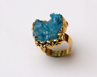 Blue Druzy Ring - 18k Gold Plated