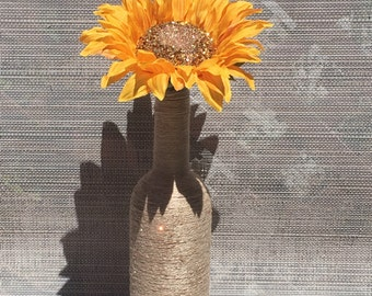 Decorative Twined Wine Bottle, Sunflower, Glitter, Wine Bottle Decor, Sunflower Centerpiece
