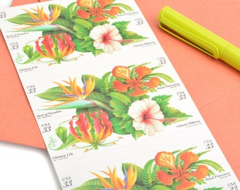20 Tropical Flowers Postage Stamps - 33c - Unused - Quantity of 20 - Bird of Paradise, Royal Poinciana, Gloriosa Lily, Chinese Hibiscus