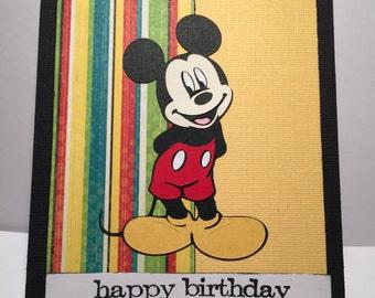 Mickey Mouse Card//Happy Birthday//Handmade Card