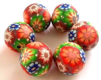 6 polymer clay beads autum of autumn beads, beaded floral orange green blue