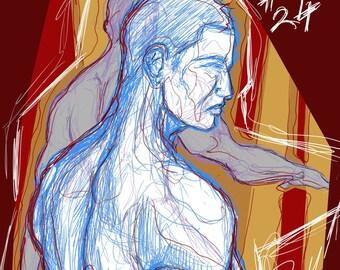 Number 24 - Male Figure - Digital Illustration - Mounted Satin Luster/Canvas Print