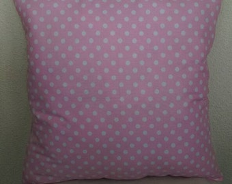 Polka Dot Throw Pillow with Light Pink Back