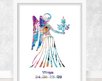 Watercolor  Astrology Art, Print, Virgo  Sign , Virgo Zodiac, Virgo Wall Art,  Virgo Poster, Gift for  Virgo