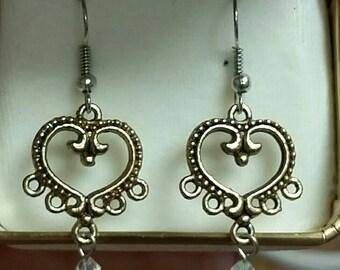 Crystal heart earrings
