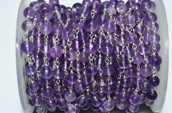Beautiful Natural Amethyst Plain Smooth Wire Rosary Beaded