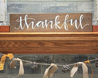 Thankful 20x3.5 wood sign