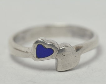T09F02 Vintage Modernist Style Double Hearts 925 Sterling Silver Ring Size 7