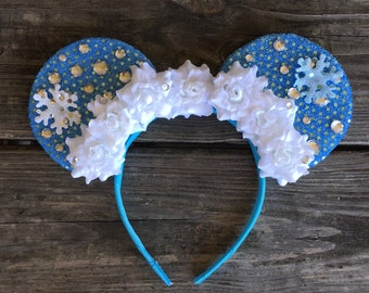 Flower and Rhinestone Ice Queen Inspired Ears