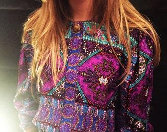 Vintage purple patterned dress