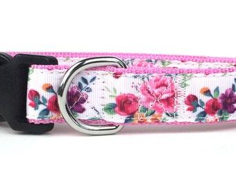Rose Floral Nylon Dog Collar