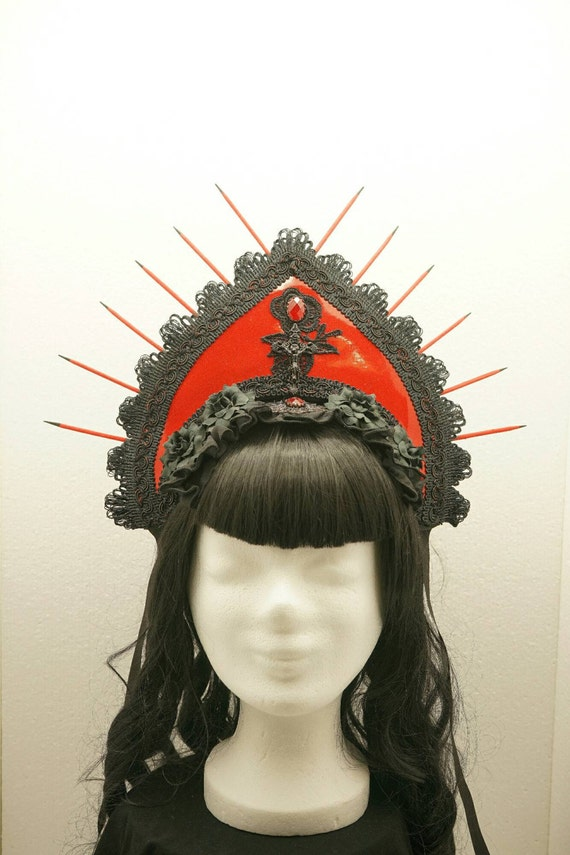 SALE! Glitter red PVC headpiece kokoshnik