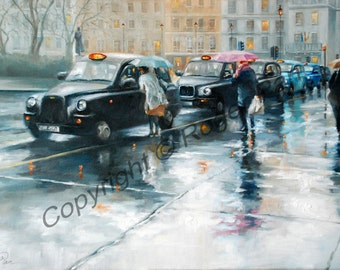 Original oil painting on canvas by Roger Pan, ''Taxi Rank'',London  24''x16''