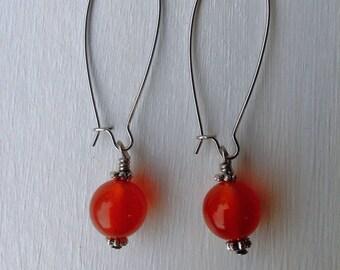 Red Amber Earrings, Long Kidney Wire Earrings, Delicate Earrings, Amber Earrings