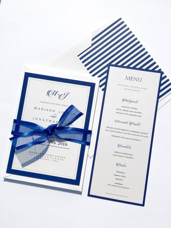 Royal Blue Wedding Invitation Sample Set Elegant