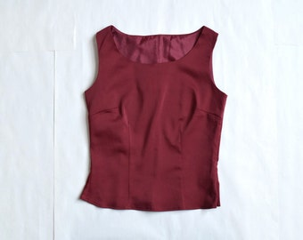 90s Burgundy Crop Top / Size S-M / Zipper Closure / Fitted top / 90s Tank Top