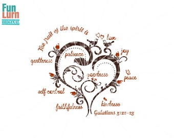 The fruit of the spirit is love,joy,kindness,peace,goodness,faithfulness SVG,Galatians 5:22-23, tree, heart, love, birds svg png dxf eps zip