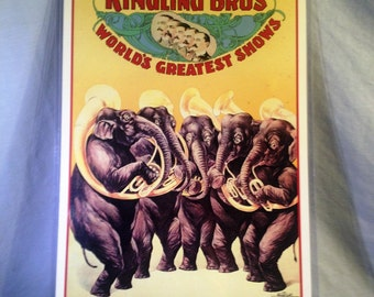 ON SALE:  Ringling Brothers Elephant Brass Band Lithograph in Plastic Protector