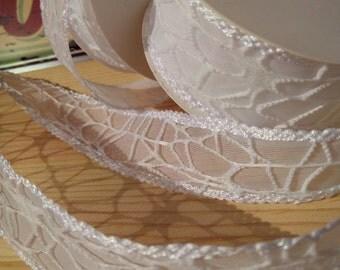 Macrame white Organza Ribbon cm50