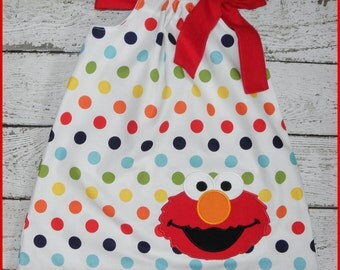 Rainbow Polka dot Sesame Street Elmo Pillowcase style dress