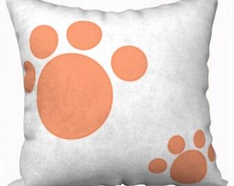 Cute Orange Paw Print Pillow