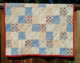 Handmade Baby quilt, red, white, blue