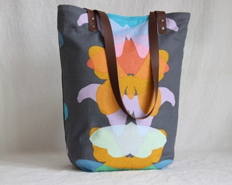 Shoulder bag with leather handles, canvas bag, shopper, totebag, butterfly, moth, grey