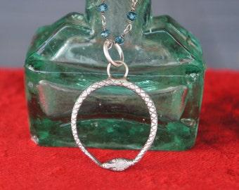 Ouroboros Snake Serpent Pendant Silver Necklace