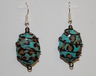 Wire Wrapped Bluish Cheetah Print Earrings