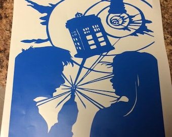 Doctor Who and Rose Tyler decal. Vinyl sticker.