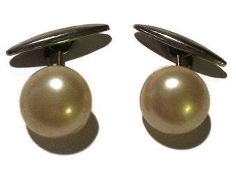Vintage Ladies' Cufflinks- Champagne Pearl