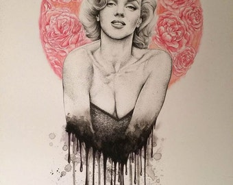 Original Marilyn Monroe Portrait Drawing