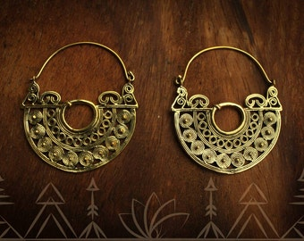 Brass antique style, Indian inspired, hoop earring