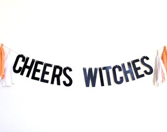 Halloween Banner - Cheers Witches Banner - Halloween Party Decor - Halloween Garland - Cheers Banner - Cheers Garland - Bar Decor