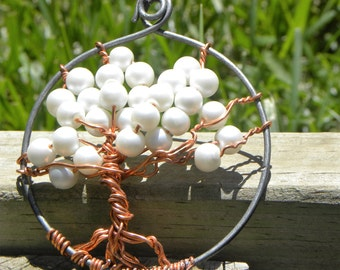 Tree Of Life using copper and recycled baling wire pendent