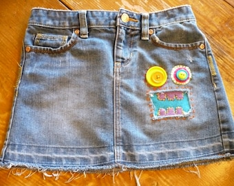 Girls Denim Skirt | Girls Size 8 | Monster Jeans | Kids Clothes | Bright and Colorful
