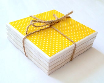Bright Yellow Polka Dot Coasters