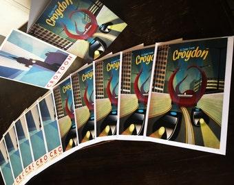 10 Croydon Retro-Fantasy Greetings Cards